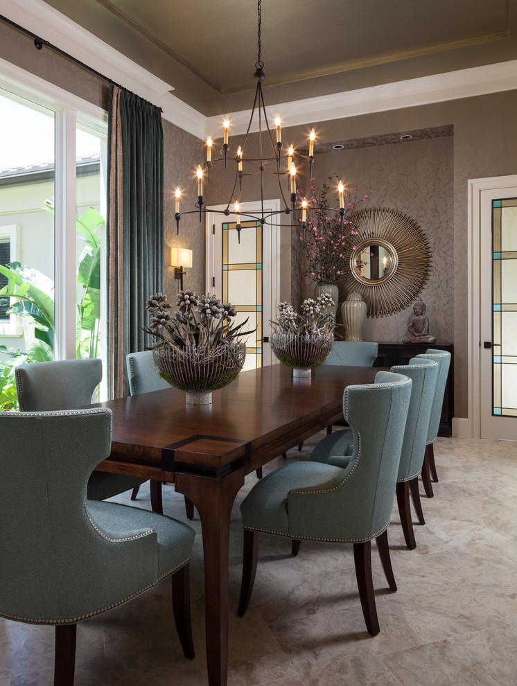 Transitional beige floor and carpeted dining room photo in Miami with gray walls