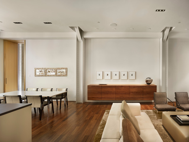 Sideboard Dimensions Example Of A Minimalist Great Room Design In Philadelphia With White Walls And Dark Wood Floors