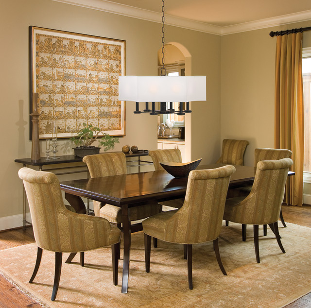 Transitional Dining Room Table: Russell Pendant Above Dining Table