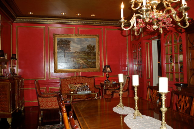 Russian dining room traditional dining room for Traditional red dining room