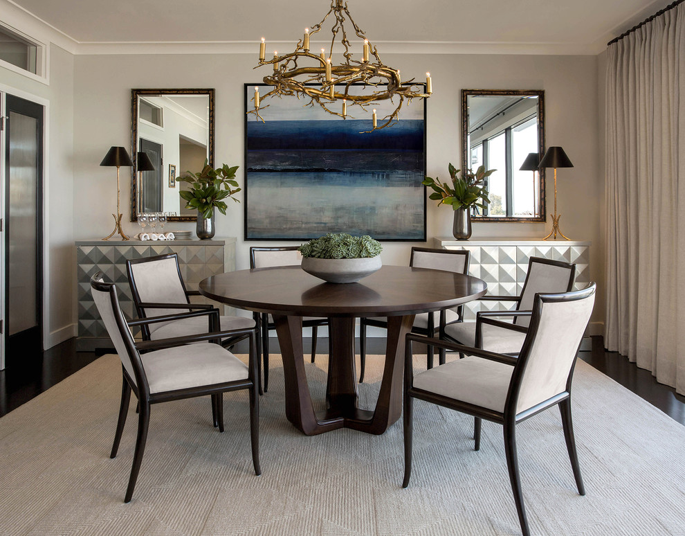 Inspiration for a transitional dark wood floor and brown floor dining room remodel in San Francisco with gray walls