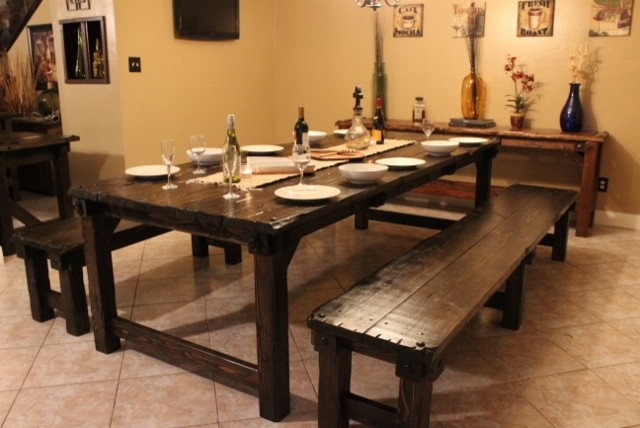Rustic cabin custom medieval dining collection rustic dining room houston by old world - Houston dining room furniture ideas ...