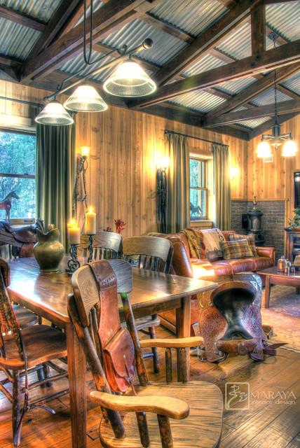 Rustic Cabin Farmhouse Family Room Santa Barbara