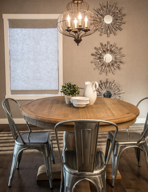 Lovely Inspiration For A Rustic Dark Wood Floor Dining Room Remodel In Calgary  With Beige Walls