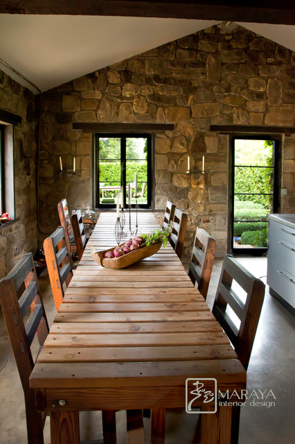 Rustic Dining Table In Old Cottage