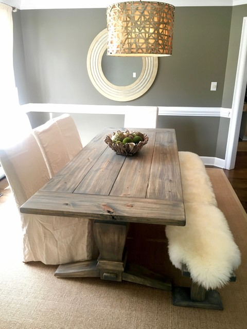 Inspiration for a mid-sized rustic dark wood floor and brown floor enclosed dining room remodel in Charlotte with gray walls and no fireplace