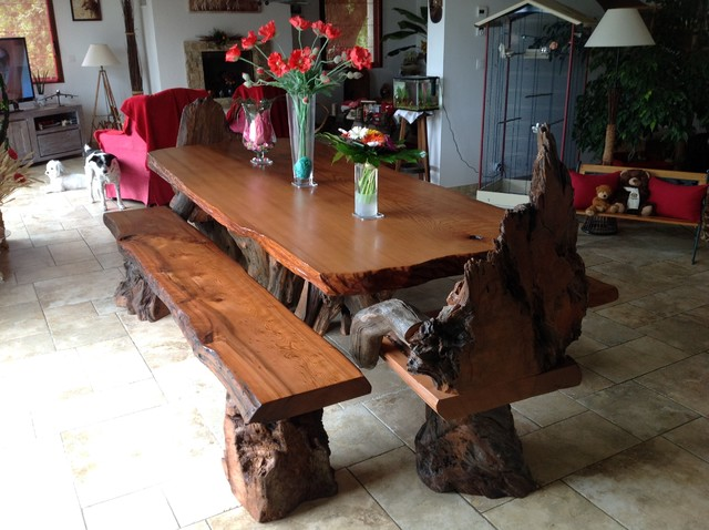 Rustic Live Edge Redwood Dining Table With Rustic Chairs And Benches Rustic  Dining Room