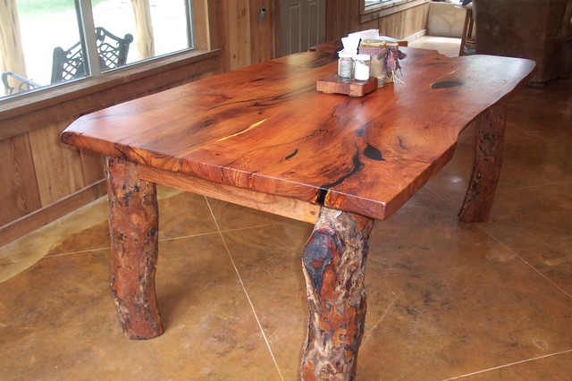 Rustic Mesquite live edge table Contemporary Dining Room