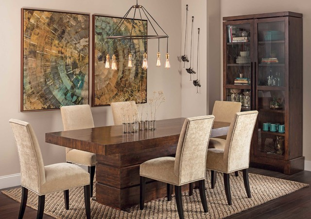 Rustic modern tahoe dining table eclectic dining for Dining room ideas rustic
