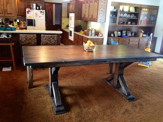 Rustic Pedestal Table And Bench Farmhouse Dining Room