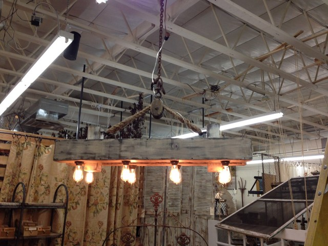 rustic reclaimed wood beam chandelier with pulley
