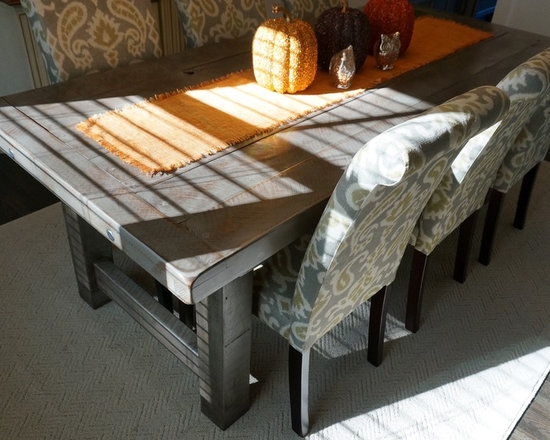 Rustic Slate Gray- The Clayton Rustic Farm Dining Table - Here is our Clayton Rustic Farm Table in our new color Rustic Slate Grey. Our customer was happy to share their new dining room! Such a creative space!
