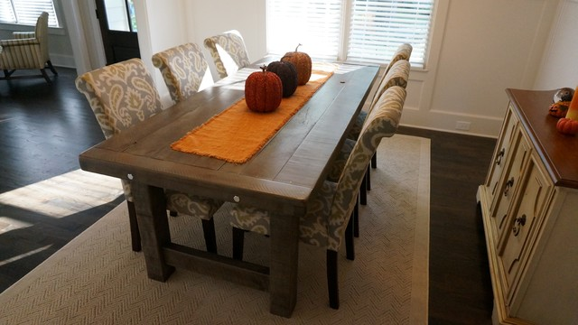 rustic dining room table Rustic Slate Gray  The Clayton Rustic Farm Dining Table   Rustic  rustic dining room table