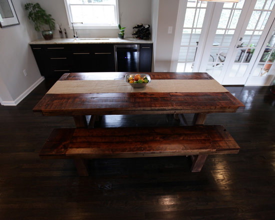 Rustic Trades Dining Tables - Farm style and trestle tables created with rugged reclaimed rustic timbers.