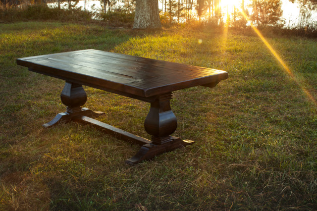 Good Rustic Trades Trestle Dining Table Rustic Dining Room