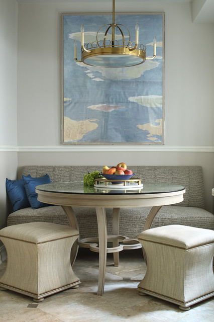 Dining room - transitional dining room idea in New York with gray walls