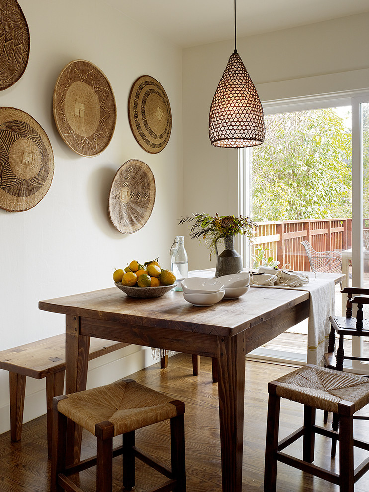 Mountain style dining room photo in San Francisco with white walls
