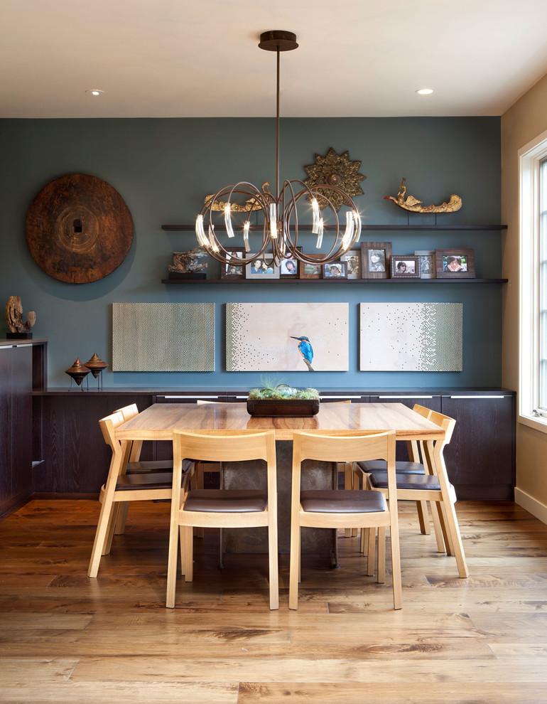 Huge trendy medium tone wood floor great room photo in San Francisco with blue walls