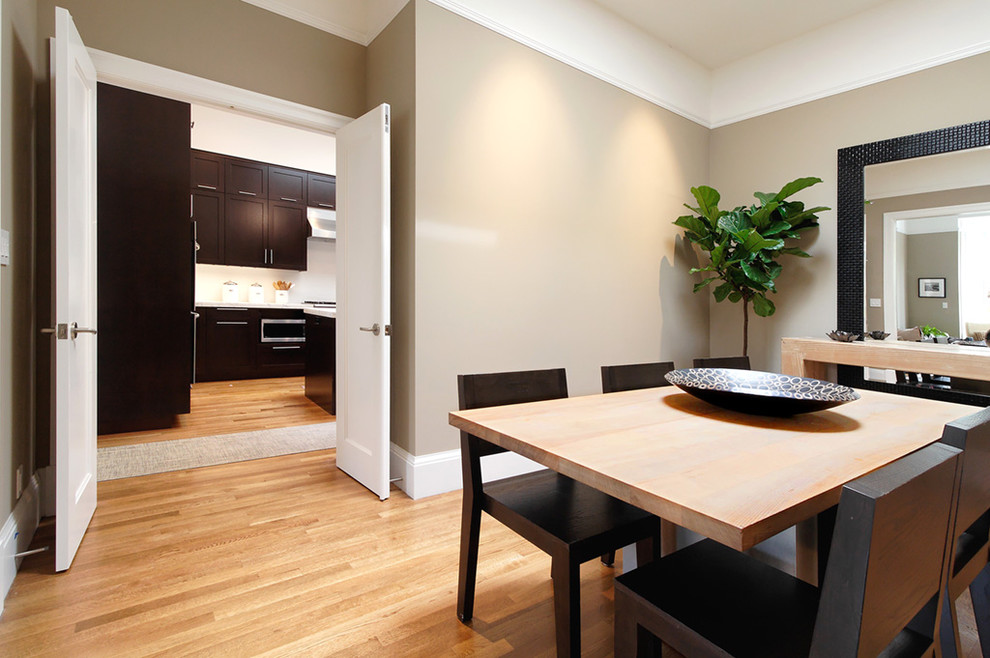 Example of a trendy medium tone wood floor dining room design in San Francisco with beige walls