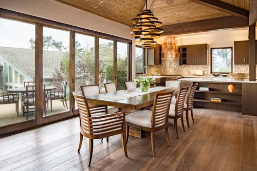 Dining Room with Modern Light Fixture