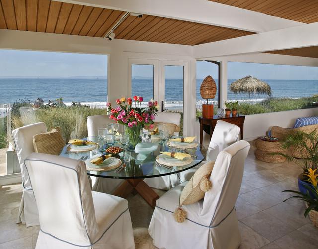Santa barbara beach house tropical dining room santa for Santa barbara beach house
