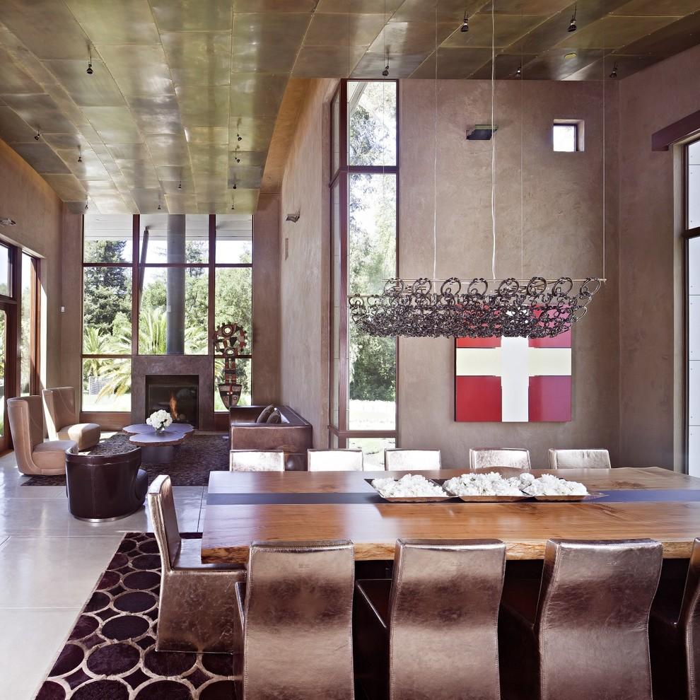 Dining room - contemporary concrete floor dining room idea in San Francisco