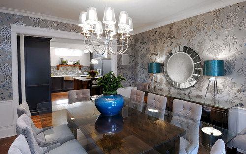 Contemporary Dining Room In Gray, Silver, And Blue