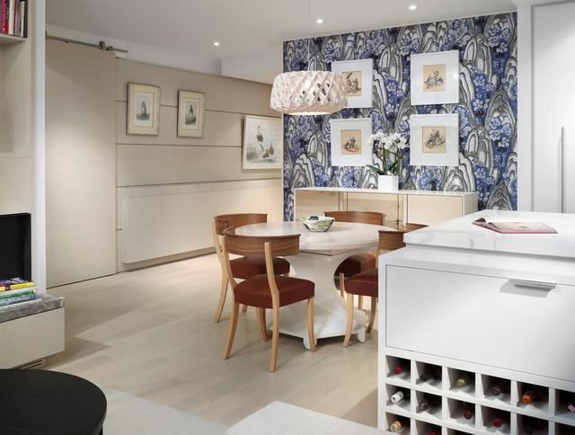modern dining room with scandinavian wallpaper   Scandinavian Modern Condominium - Scandinavian - Dining ...