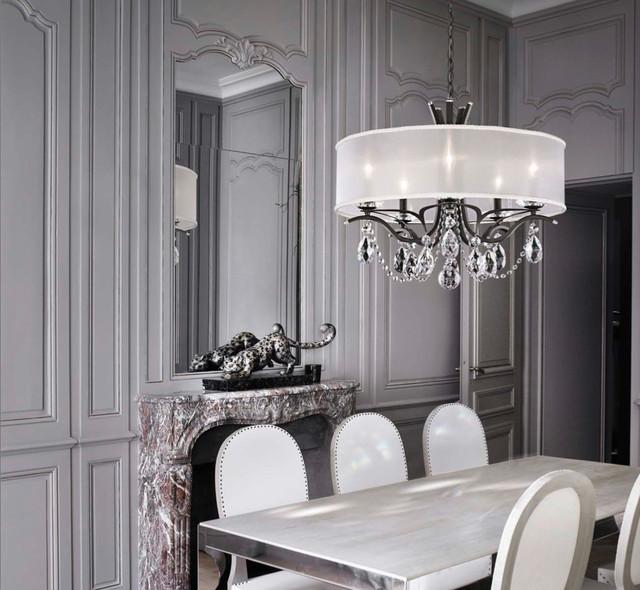 Modern Victorian Dining Room: Schonbek Crystal Chandeliers