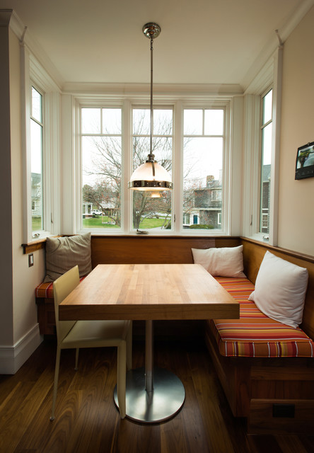 Inspiration for a victorian dining room remodel in Boston with beige walls