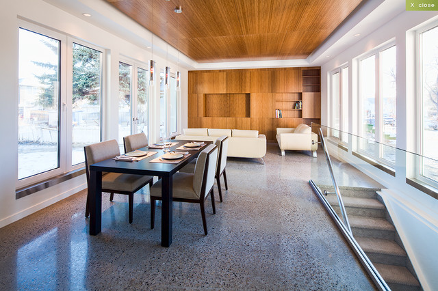 Seamless Exposed Polished Concrete Floor Modern Dining