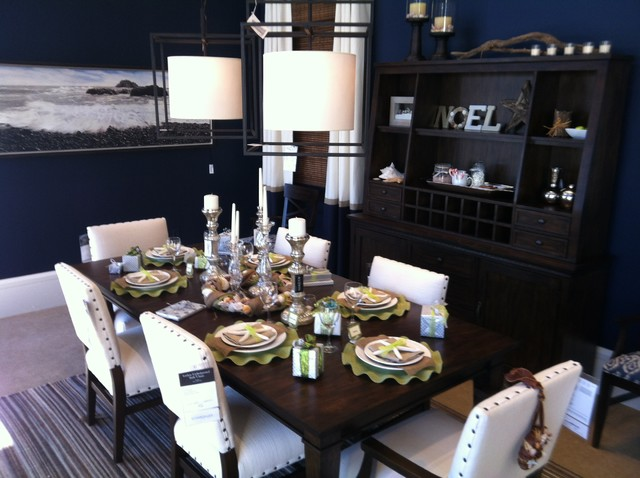 Seaside Dinner Party Tablescape - Contemporary - Dining Room ...