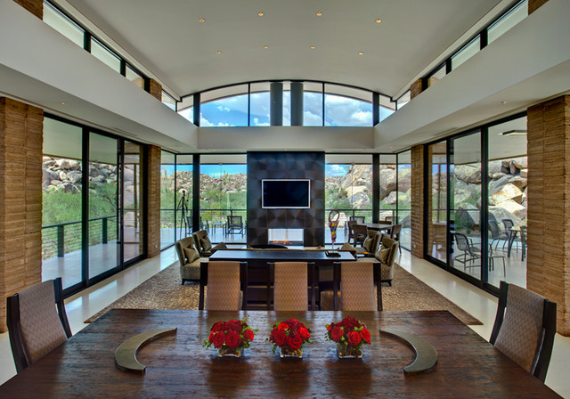 Secluded Canyon Home contemporary-dining-room