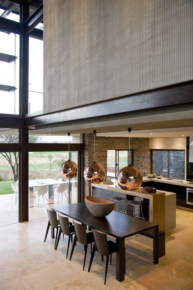 Inspiration for a contemporary kitchen/dining room combo remodel