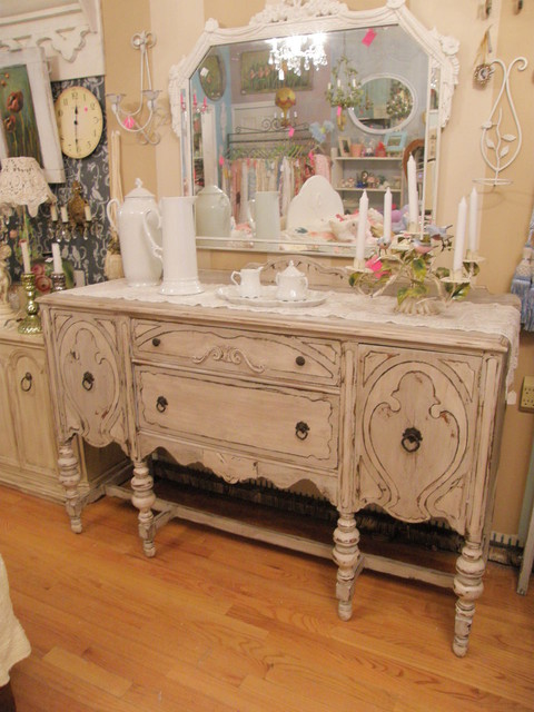 shabby chic antique buffet french gray & white distressed eclectic dining room