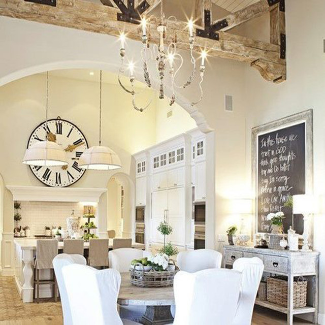 Beautiful White Shabby Chic Open Dining Room And Kitchen Traditional