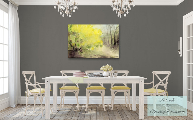 shabby chic gray dining room with yellow forsythia canvas art