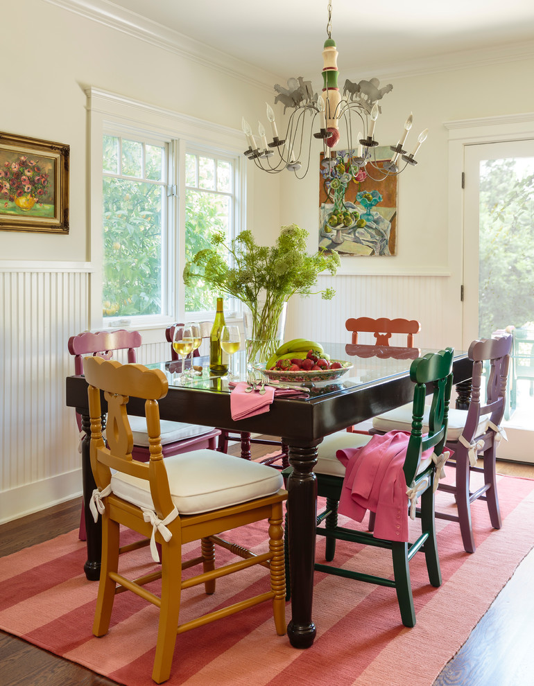 Example of a mid-sized cottage dark wood floor kitchen/dining room combo design in Los Angeles with white walls