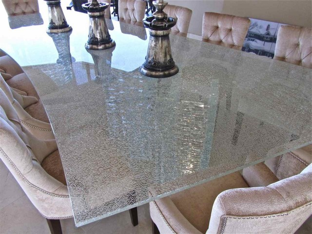 Marvelous Shattered Glass Table Top Contemporary Dining Room