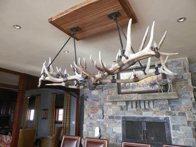 Shed Elk Antler Chandelier Traditional Dining Room