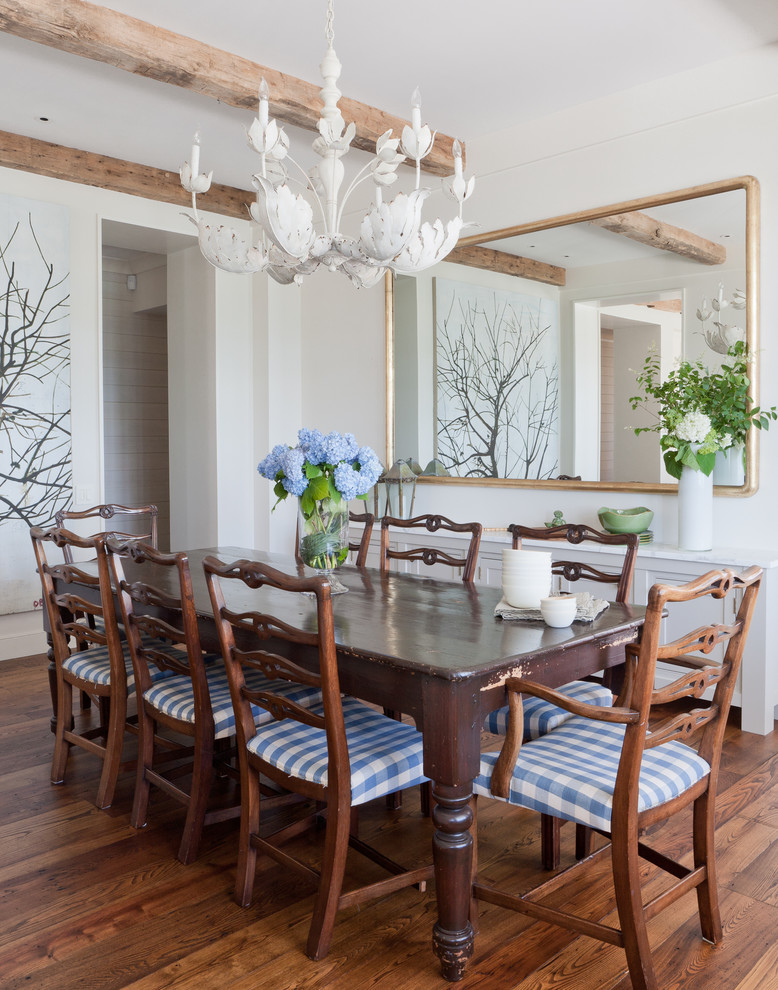 Beach style dark wood floor dining room photo in New York with white walls