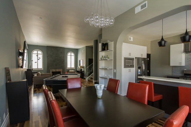 Pool Table In Living Room : Sherman Oaks Condo, Contemporary modern design, pool table ...