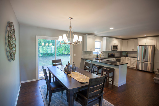 Sherwin Williams Mindful Gray Paint Nickel Chandelier Open Concept Kitchen And Transitional Dining