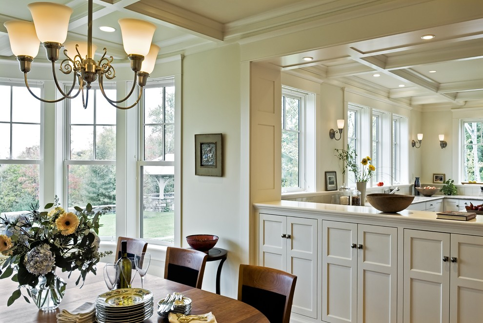 Kitchen/dining room combo - victorian kitchen/dining room combo idea in Burlington with beige walls