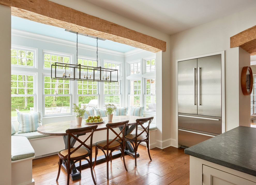 Inspiration for a large timeless medium tone wood floor kitchen/dining room combo remodel in New York