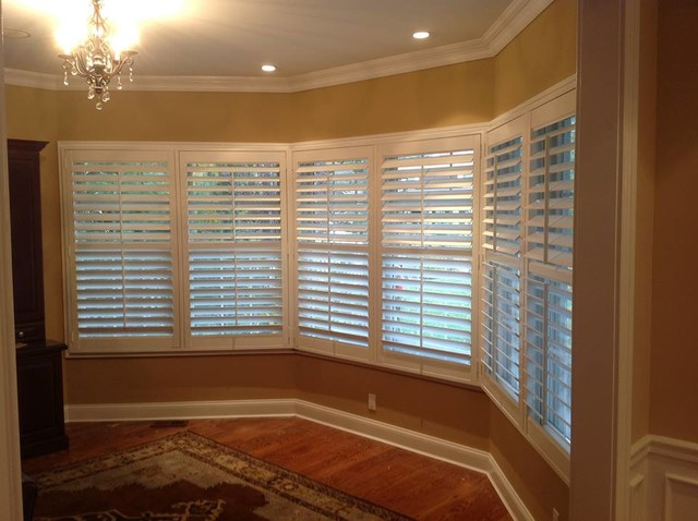 Shutters on a dining room window traditional dining - Houzz window treatments living room ...
