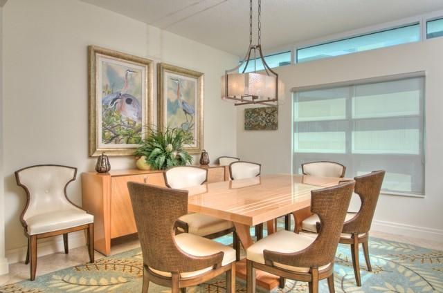 Siesta key transitional condo tropical dining room for Tropical dining room