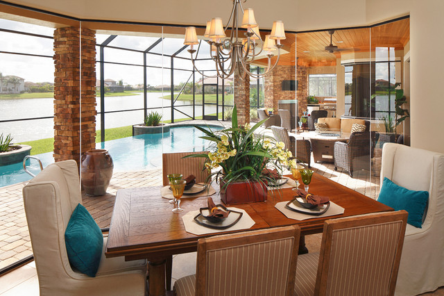 Signature series model tropical dining room orlando for Model home dining room