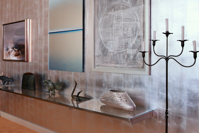 Silver Leaf Wall Art Display Contemporary Dining Room