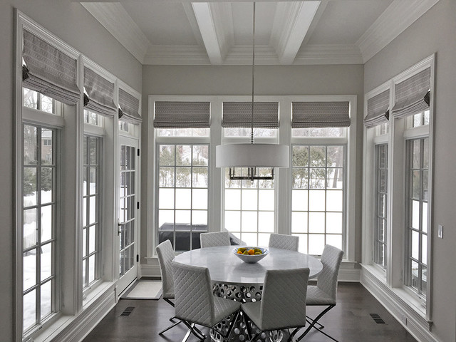 Silver Roman Shades In Winnetka Illinois Contemporary Dining Room